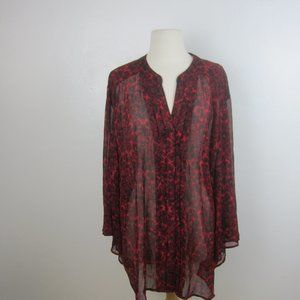 Catherines Sheer Red Paisley Button Down Blouse 3X